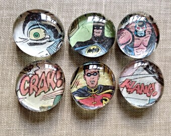 Custom Comic Magnet Set, Superhero Magnets, Glass Bubble Magnets, Personalized, Pick Your Favorite