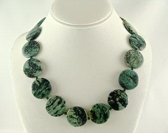 Gemstone Necklace, Zebra Jasper Necklace, Gemstone Jewelry, Chunky Statement Necklace, Green Black Necklace, Oval Beaded Necklace