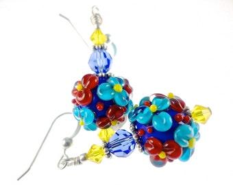 Autism Earrings, Glass Bead Earrings, Flower  Lampwork Earrings, Beadwork Earrings, Blue Turquoise Red Yellow Earrings, Lampwork Jewelry