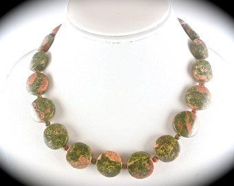 Gemstone Necklace, Unakite Necklace, Gemstone Jewelry, Chunky Statement Necklace, Green Peach Necklace, Oval Beaded Necklace