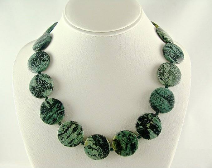 Featured listing image: Gemstone Necklace, Zebra Jasper Necklace, Gemstone Jewelry, Chunky Statement Necklace, Green Black Necklace, Oval Beaded Necklace