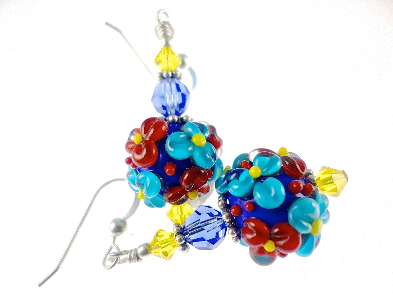 autism earrings glass bead earrings flower lwork
