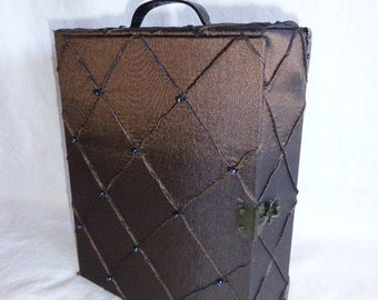 Brown Diamond Beaded Cigar Box Purse Handbag