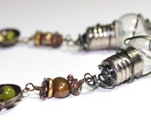 Faux Lightbulb Wire Wrapped Earrings with Pearls and Recycled Domed Tin - Assemblage, Meatal, Wire, Black, Green, Pearls