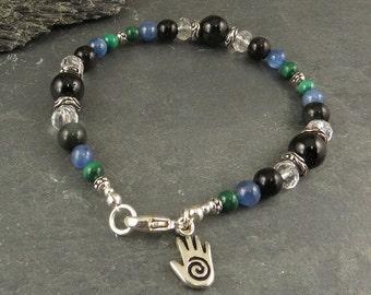 Energy Worker's Protection bracelet with Black Tourmaline & Obsidian, Kyanite, Malachite and Quartz