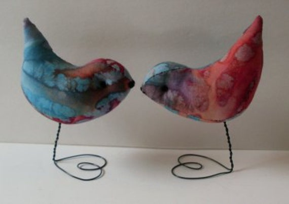 Hippie Pr. of  Tye Dyed Love Birds  Wedding Cake Toppers
