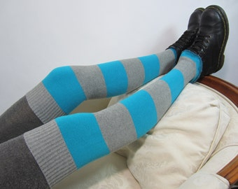 Striped Thigh high socks Over the knee Leg warmers Boot Sock Stripe Turquoise Blue Gray A1315