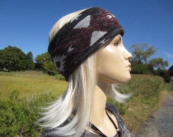 Wide Headband Hair Style Tribal Print Thick Cotton Knit Hair wrap Striped Tube Hat Hairband Ear Warmers A1550