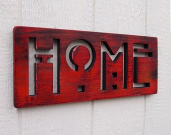 HOME Oak SIGN in Barn Red CLEARANCE