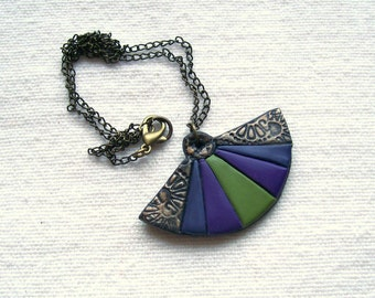 Colorful oriental fan necklace semi-circle polymer clay bronze purple plum olive green striped stripy pendant bohemian jewelry