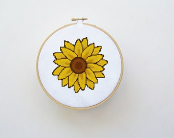 Sunflower Cross Stitch Pattern Instant Download - Digital File - Hoop Art, Counted Cross Stitch, Easy Cross Stitch