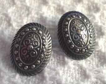 Sterling Silver Earrings Cellini Ornate Victorian Antique Design Oval Pierced Boho Vintage
