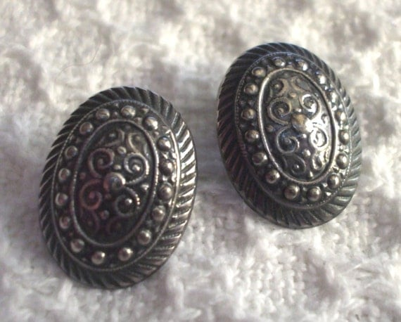 Sterling Silver Earrings Cellini Ornate Victorian Antique Design Oval Pierced Boho Vintage