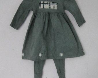 Cotton baby Dress,  18 months, Grey, Leggings, Tie Dye