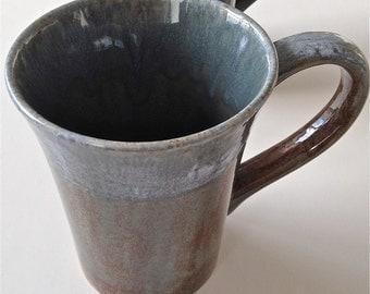 Tall Tea Or Coffee Stoneware Ceramic Mug In Bluegreen and Earth Glaze