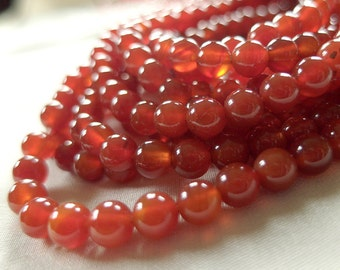 6mm Carnelian Round Beads, Red Agate, full strand, 15 inches, 64 beads