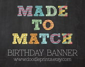 """1 ONE Made To Match """"Birthday BANNER"""" for any Premade Invitation Design from Doodle Prints Shop"""