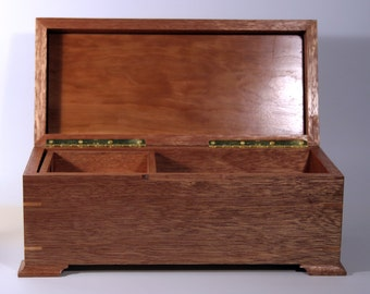Mahogany and Cherry with Birch Highlights Jewelry / Keepsake Box with Sliding  Inner Treasure Drawer