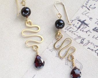 Garnet & Gold-Filled Wire Earrings