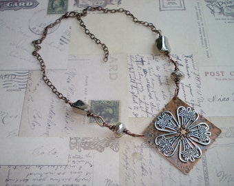 Copper and Silver Necklace Free Shipping