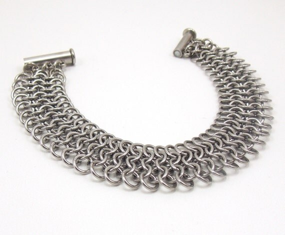 Stainless Steel 5 Row Mesh Chainmaille Bracelet