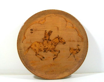 Vintage Wood Argentina Western Plate, Home Decor