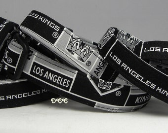 Dog Collar Los Angeles KINGS NHL Hockey Adjustable Dogs Collars D Ring Handmade  Choose Size Accessories Accessory Pet Pets Sports Team LA