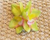 Green Hawaiian Double Tropical Tiki Orchid Flower Hair Clip, Island Bride Rockabilly Pinup Hair Accessories