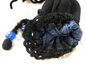 Antique Victorian Handbag Black Lace Crochet with Tassels and Large Vintage Blue Glass Beads and Satin LIning