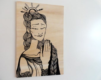 Original Liberty Black Marker Figure Drawing Illustration on Wood, Wall art, Wall Decor - panel 9.5x14.5inch (24x37cm)