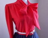 Sexy Vintage 1950s 1960s LIPSTICK Red Button Down Blouse w Pussy Bow Ascot Tie Neck