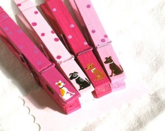 TINY DOGS CLOTHESPINS hand painted magnetic pegs pink