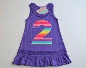 Ready to Ship Girls 2nd Birthday Dress Rainbow Applique Number Tank Top Dress Second Birthday Purple Rainbow Party Ruffle Knit Dress