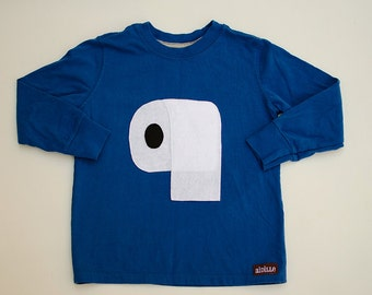 Size 4T Boys Toilet Paper Shirt Royal Blue Long Sleeved Funny Applique Tshirt Ready to Ship