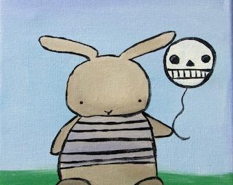 Goth Bunny Whimsical Outsider Art Print, Kids Wall Art Nursery Decor, Storybook Children's Art