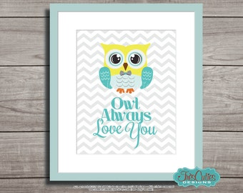 Owl Nursery Decor - Owl Printable for Nursery - Owl Always Love You - Baby Boy Owl Nursery - Aqua and Lime - Instant download