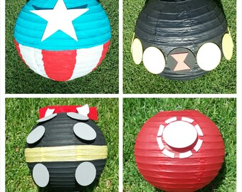 The Avengers Superhero Inspired Paper Lantern Decoration Including Iron Man, Thor, Captain America and Black Widow