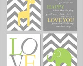 "Carter's Animal Zoo Bedding Lime Green and Gray Nursery You Are My Sunshine Elephant Nursery Yellow Gray and Green Set of four 8""x10"" prints"