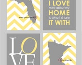 "Yellow and Gray Bedroom Decor Yellow and Grey Bedroom Art What I Love About My Home Is Who I Share It With Art Set of 8""x10"" prints"
