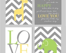 "Carter's Animal Zoo Bedding Lime Green and Gray Nursery You Are My Sunshine Elephant Nursery Yellow Gray and Green Set of four 8""x10"" prints"