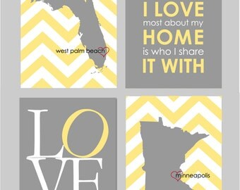 Home Decor CANVAS Wall Art Home Sweet Home Yellow Wall Art