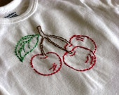 Hand Embroidered Onesie --  Cherries