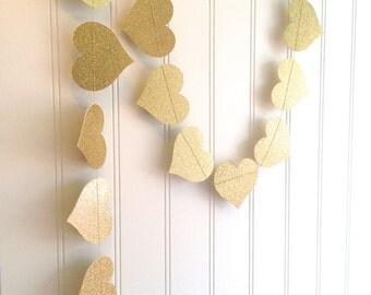 Custom Double Sided Glitter Paper Heart Banner, Garland