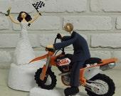 Motor bike race theme wedding cake topper