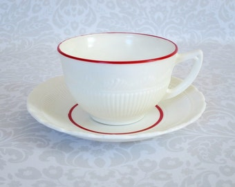 Vintage Tea Cup and Saucer  /  Milk Glass Teacup and Saucer  /  Vintage Macbeth Evans Corning Tea Cup Set Cup Set with Red Trim
