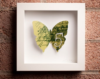 Five: Framed Paper Butterfly with Handwriting & Five on Green