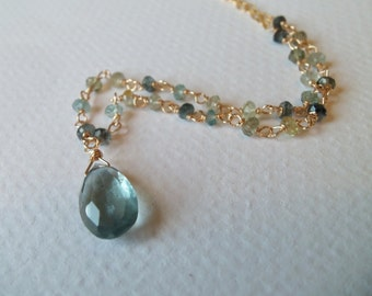 Moss Aquamarine Pear Briolette Gemstone Wire Wrapped Necklace/Pendant on Gold Fill