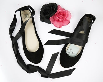 Black Leather Suede Handmade Ballet Flats with Black Ankle Satin Ribbon