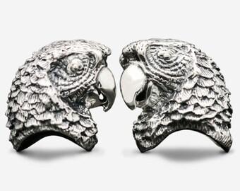 Sterling Silver Parrot Cufflinks