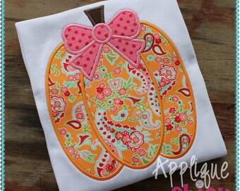 Pumpkin Bow Applique Design